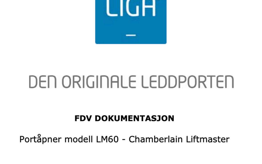 FDV dokumentasjon for Portåpner modell LM60