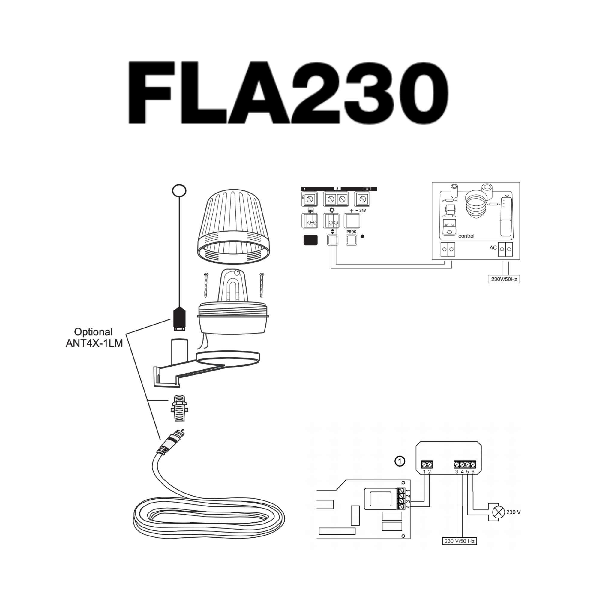 Installation of FLA230 – Flashing light kit