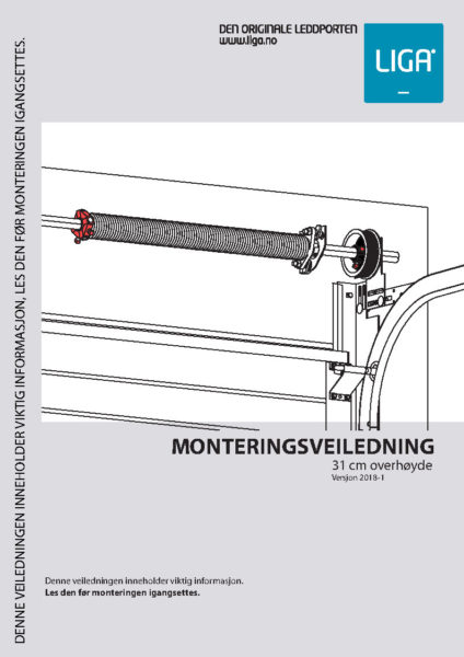 Forside Monteringsveiledning 31 cm overhøyde versjon 2018-1